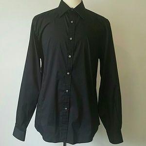 Men's Black Button Down Shirt XL Cuff Collar Detai